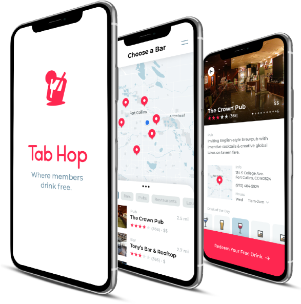 Mobile views of Tab Hop app
