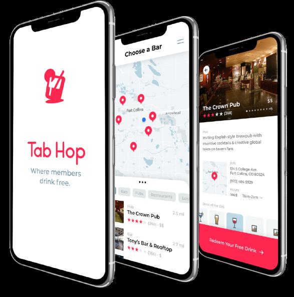 Mobile views of Tab Hop app