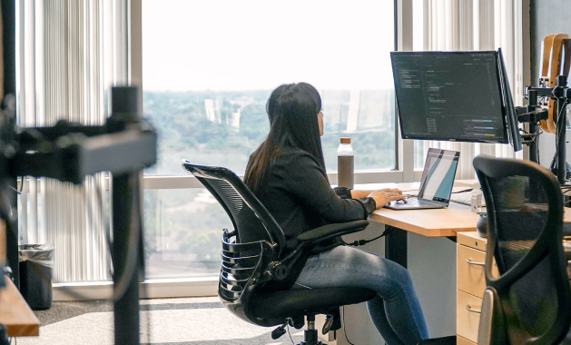 A lady on computer