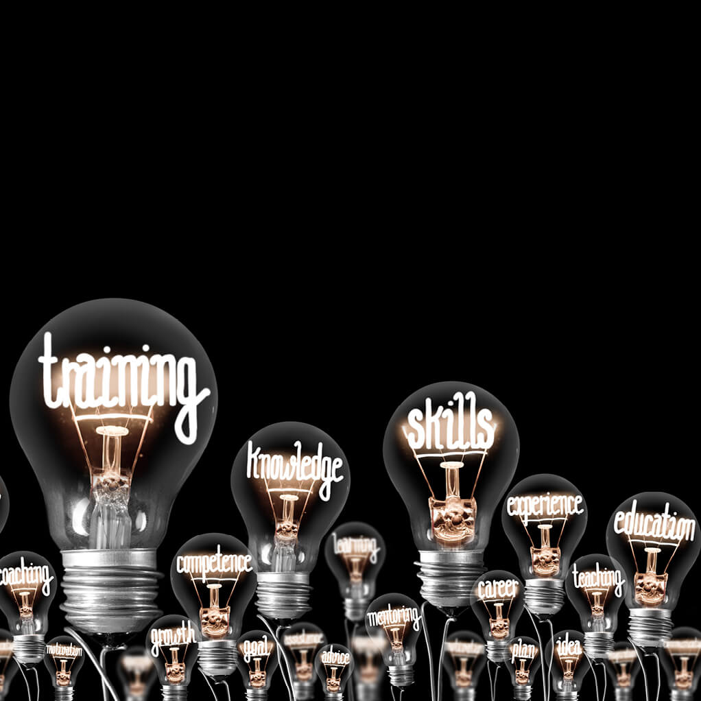 Light bulbs against background with the words: training, knowledge, skills, education