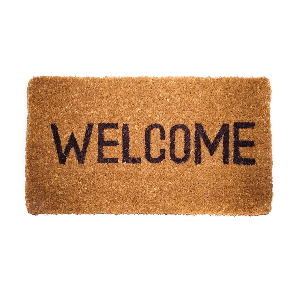 welcome mat against white background
