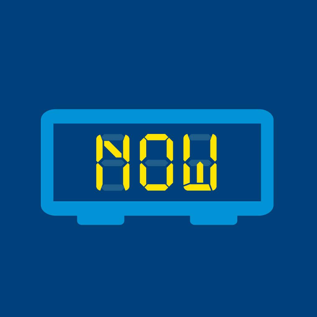 LED Alarm Clock against a blue background