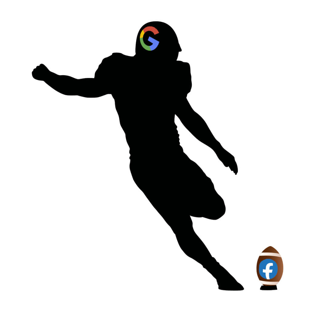 Football player with Google helmet kicking a football with the facebook logo all