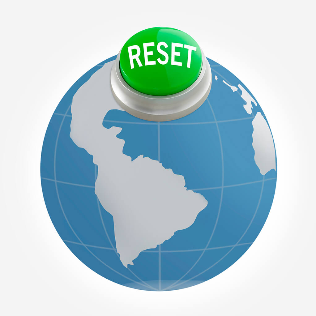 earth with green reset button