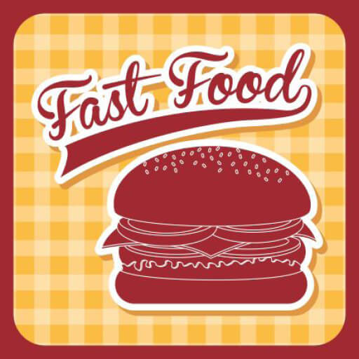 red hamburger against a yellow background with text that reads: Fast Food in red letter