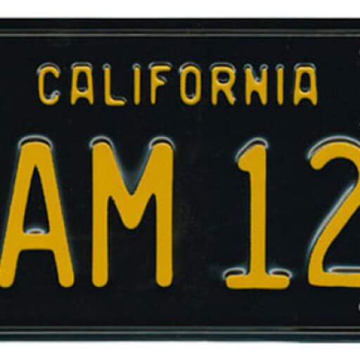 California License Plate that reads: California AM 12