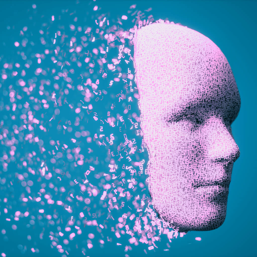 Illustration of a human face dissolving.