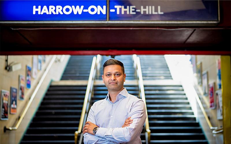 Amit Mittal at Harrow train station