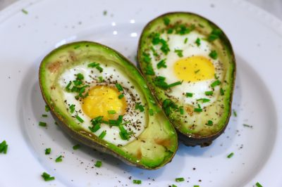 baked egg and avocado