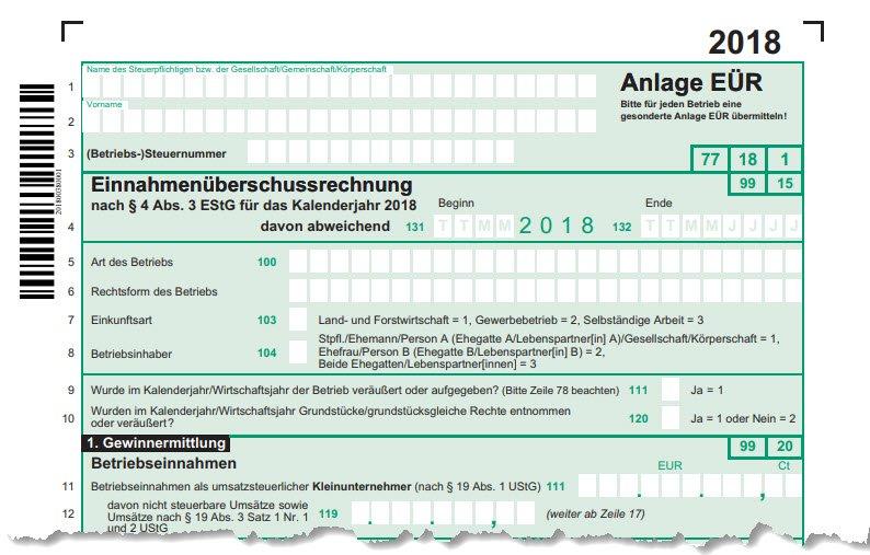 Vorschau Formular zur Anlage EÜR