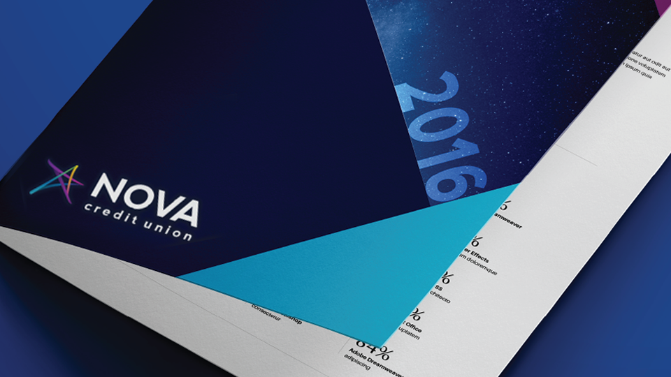 Pocket folder design branded to Nova Credit Union.