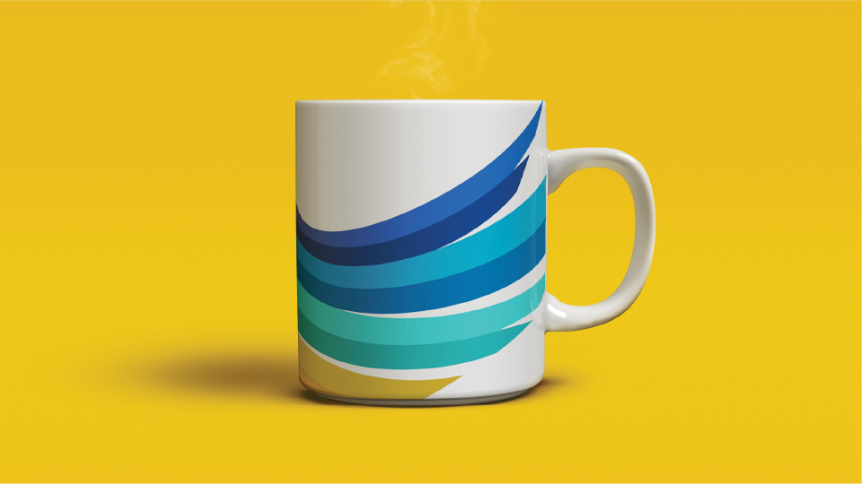 Promotional mug branded to Guardians Credit Union.