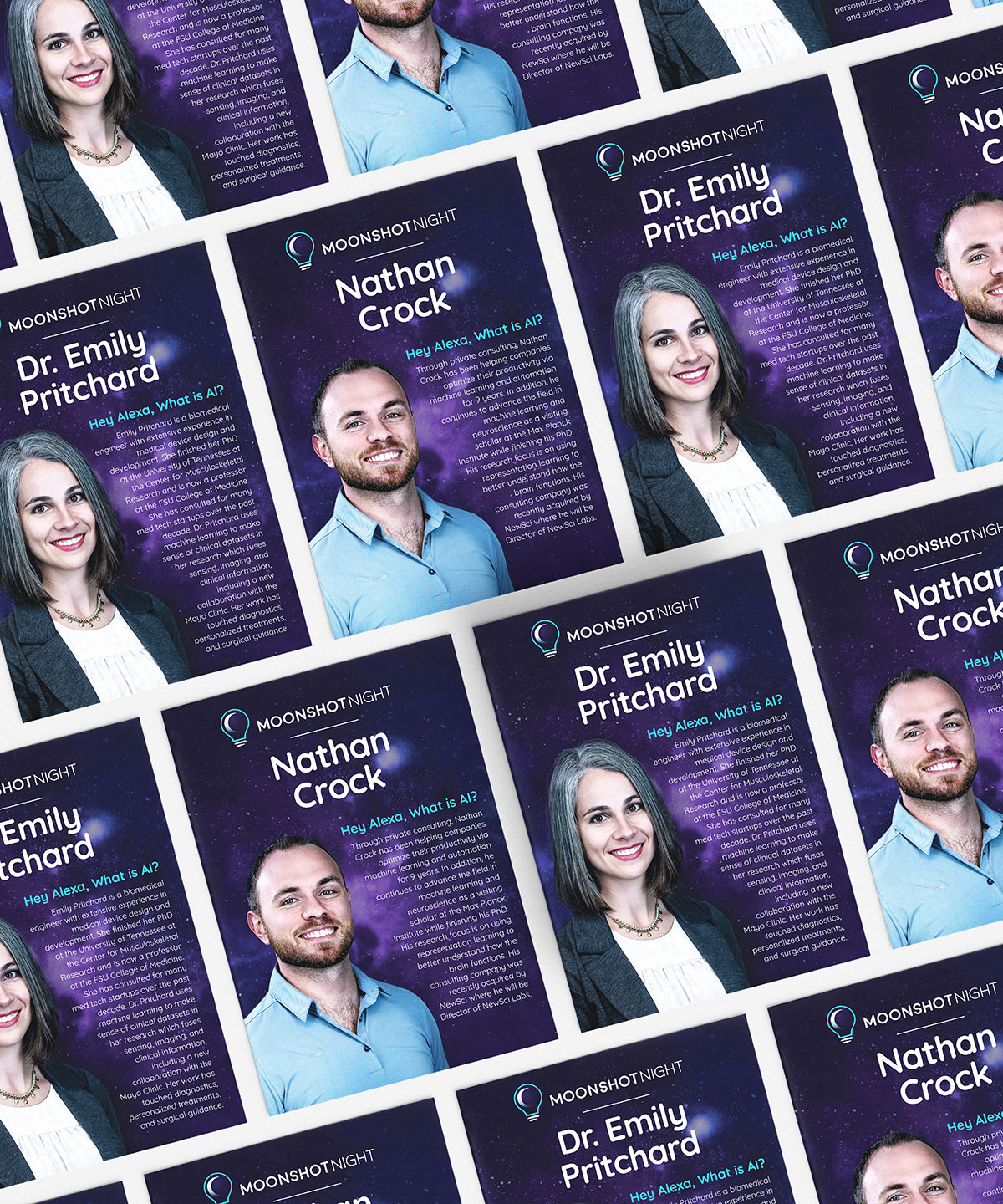 Series of printed Moonshot Night handouts with portraits of various speakers on them.
