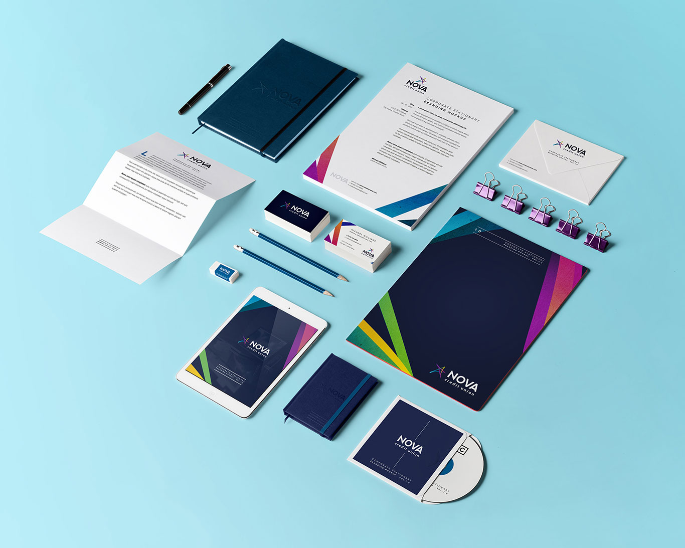 Colorful stationary and other corporate materials designed for Nova Credit Union.