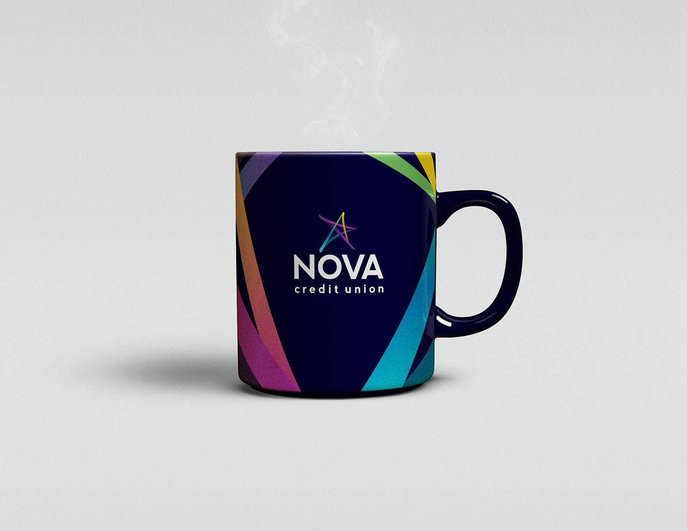 Promotional mug branded to Nova Credit Union.