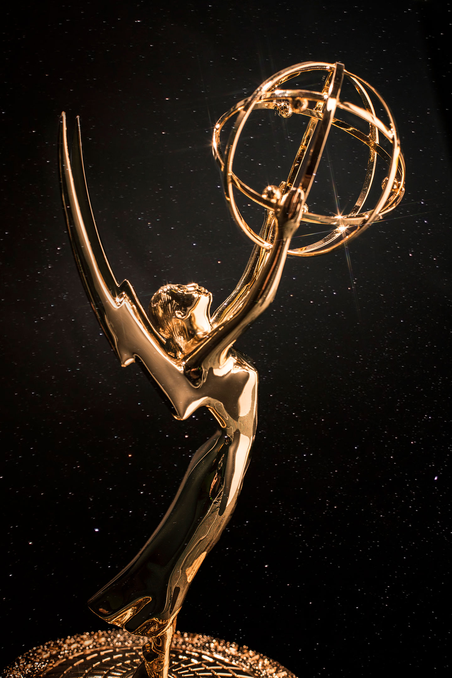 A gold, Emmy award trophy.