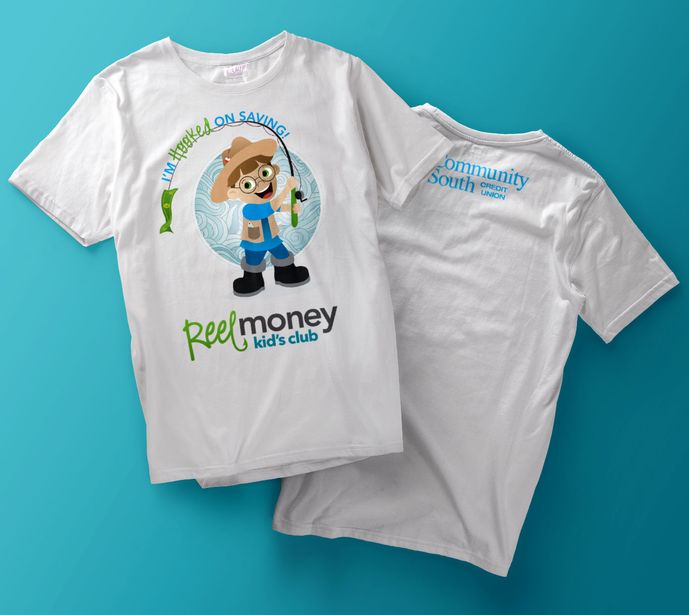 Front and back of white t-shirts with illustration of Gil, the Community South Reel Money Kids Club mascot.