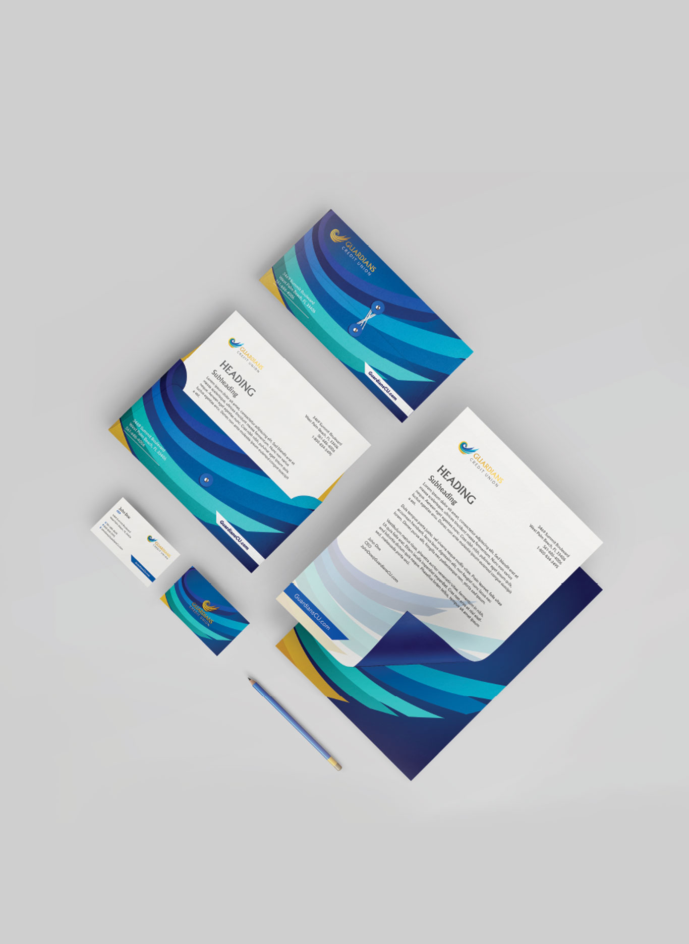 Stationary and other corporate materials branded to Guardians Credit Union.