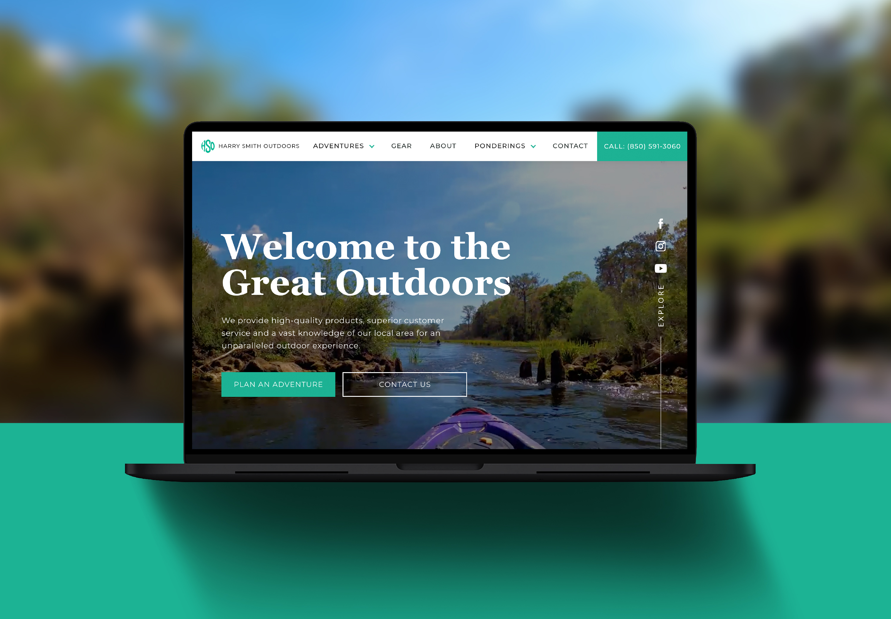 Homepage design for the Harry Smith Outdoors website