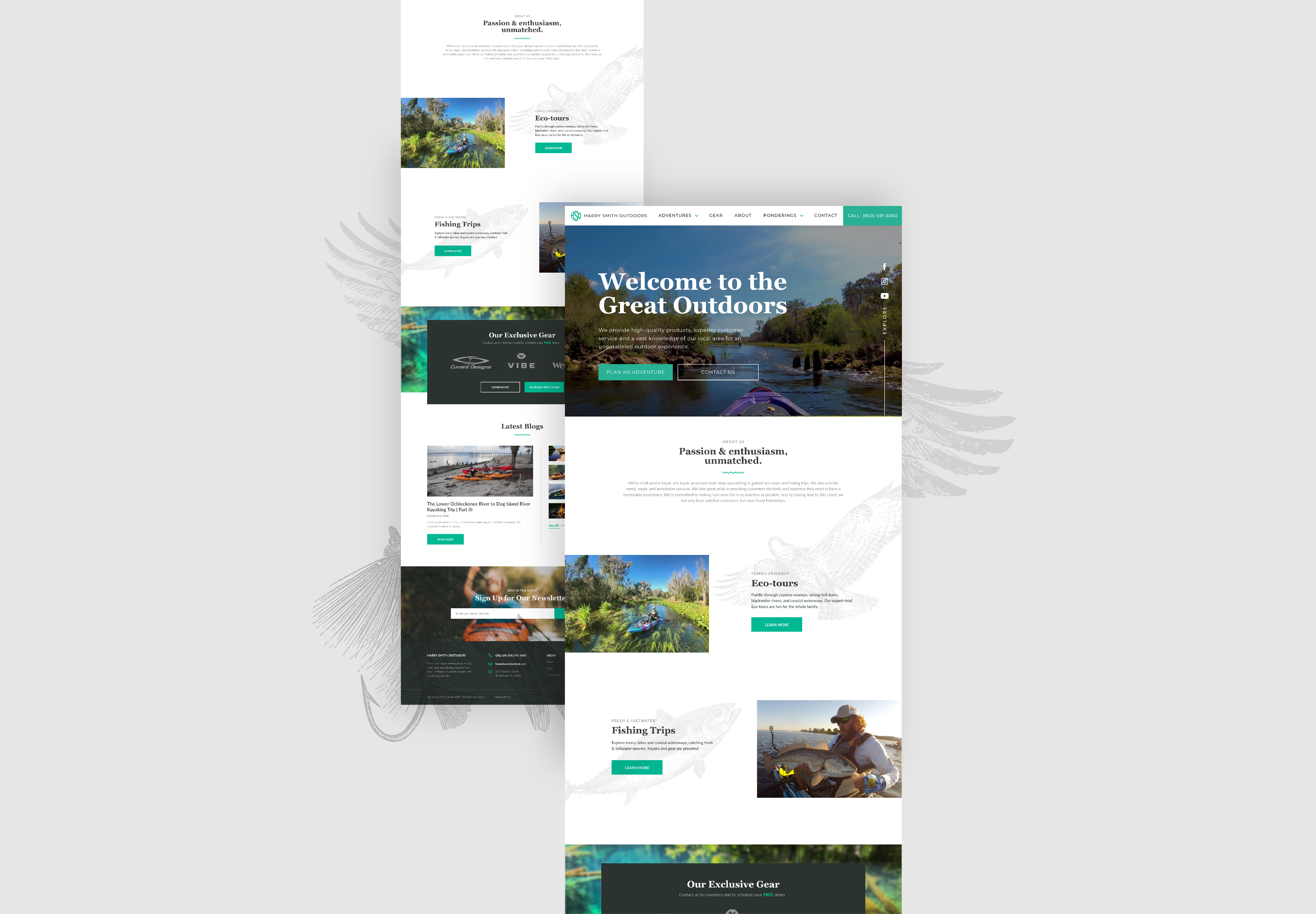 Homepage designs for the Harry Smith Outdoors Website