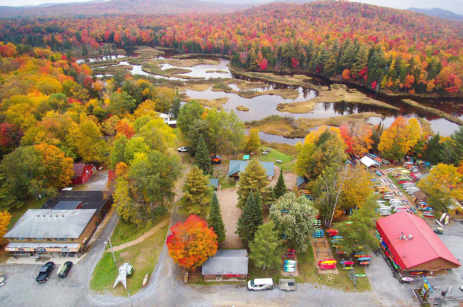 Overhead drone photo or Old Forge shops
