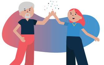 Cartoon of guy and girl high-fiving