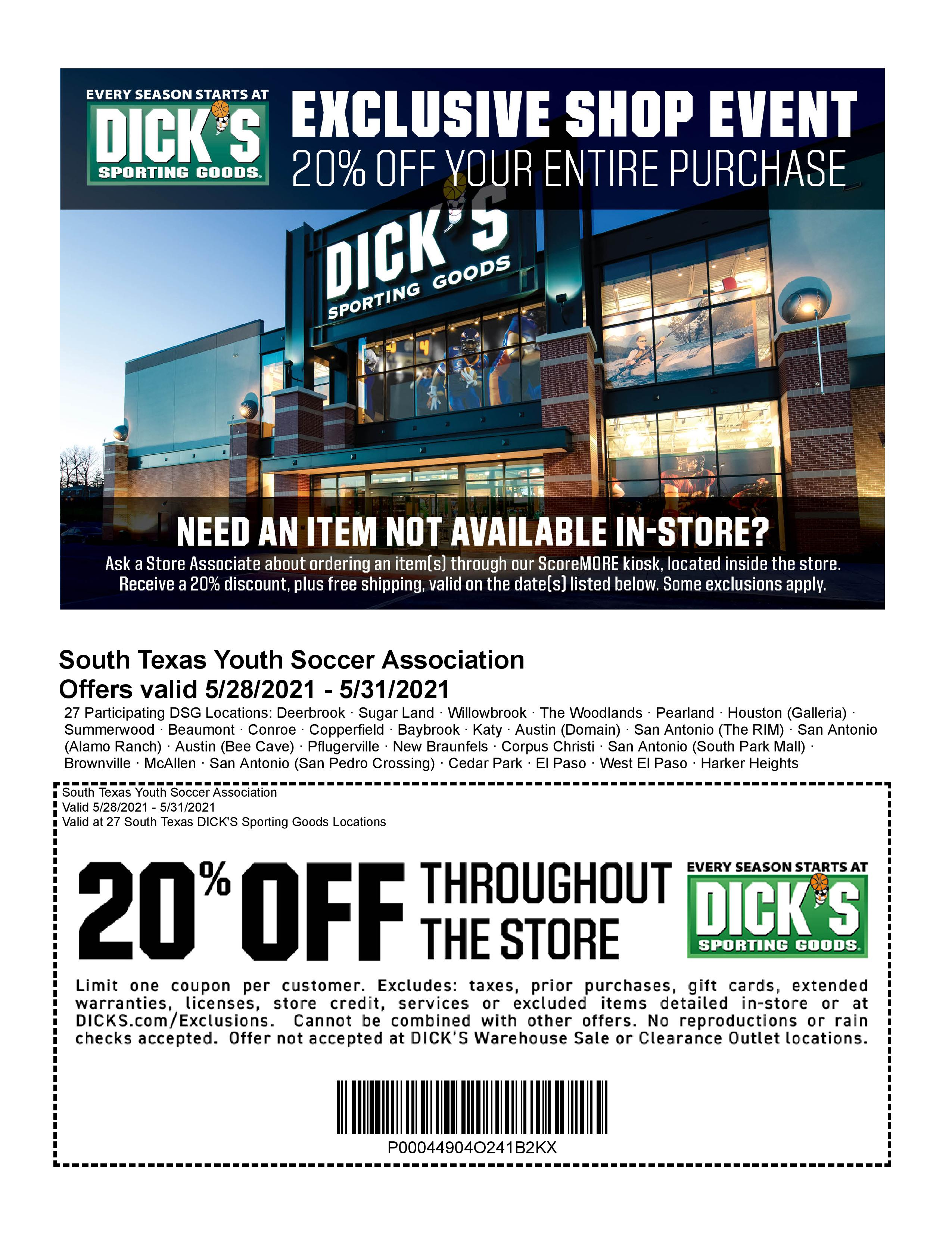 Dick's Sporting Goods Memorial Day Coupon for STX Youth Soccer Members!