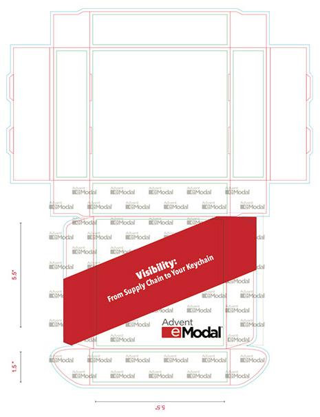 Print mechanical layout of a custom printed shipping box.