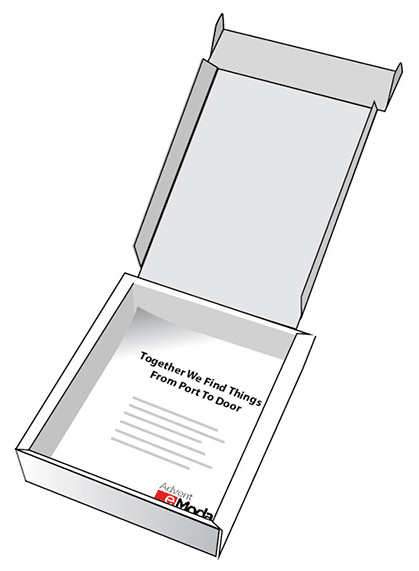 Three dimensional concept rendering of a custom printed shipping box.