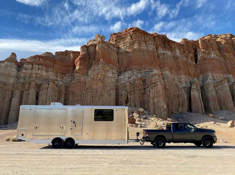 off road travel trailer hauled in front of a canyon
