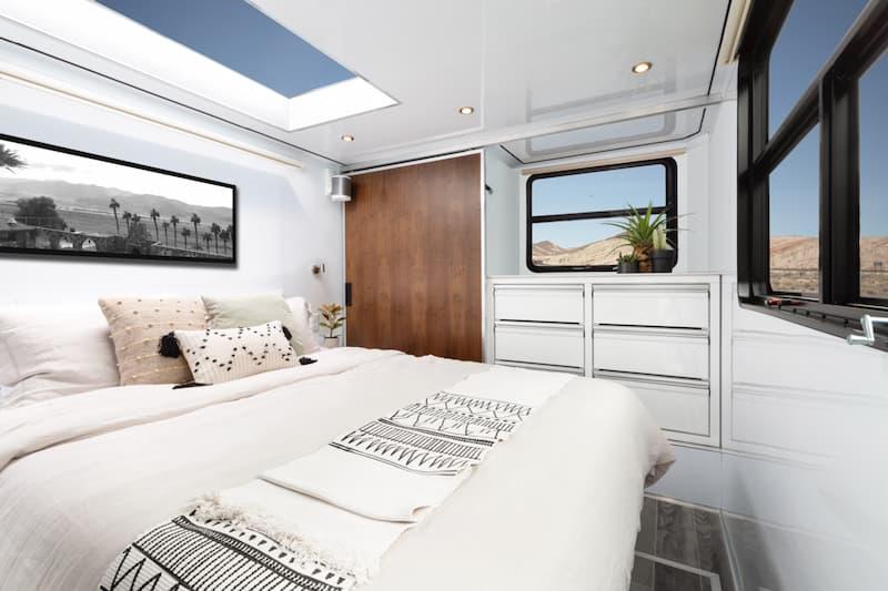 luxury camper trailer with queen bed