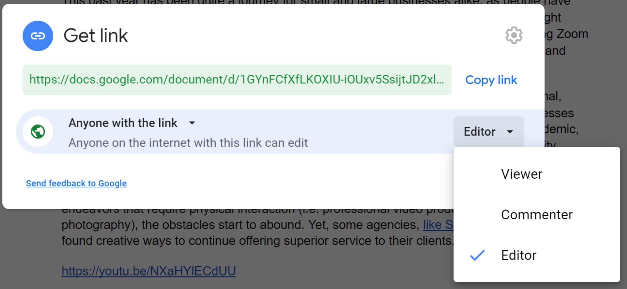 Google doc sharing permissions