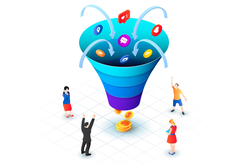 Illustration d'un tunnel de conversion marketing