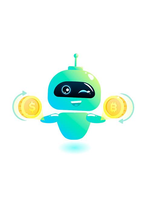 Illustration de robot tenant des pièces de monnaies