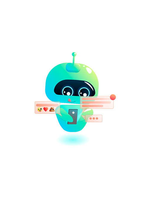 Illustration de robot qui chat sur son smartphone