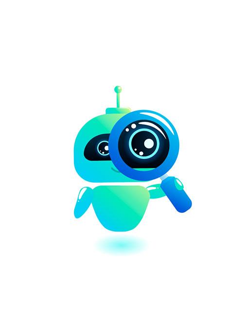 Illustration de robot tenant une loupe devant son oeil