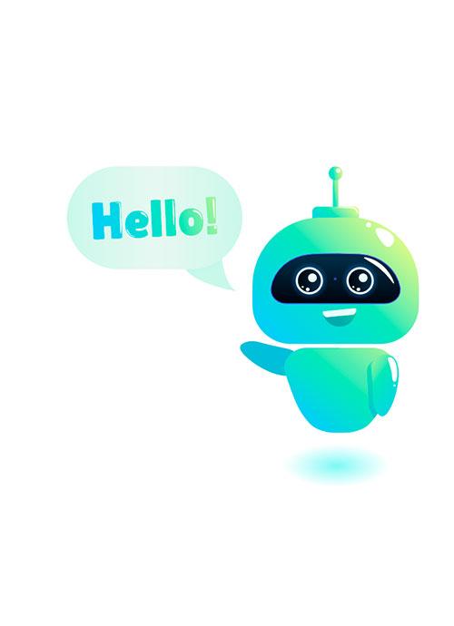 """Illustration de robot saluant et disant """"hello!"""""""