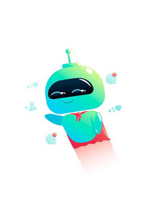 Illustration de robot en super hero qui s'envole avec sa notoriété grandissante
