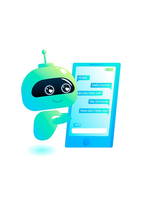 Illustration de robot discutant sur son smartphone géant