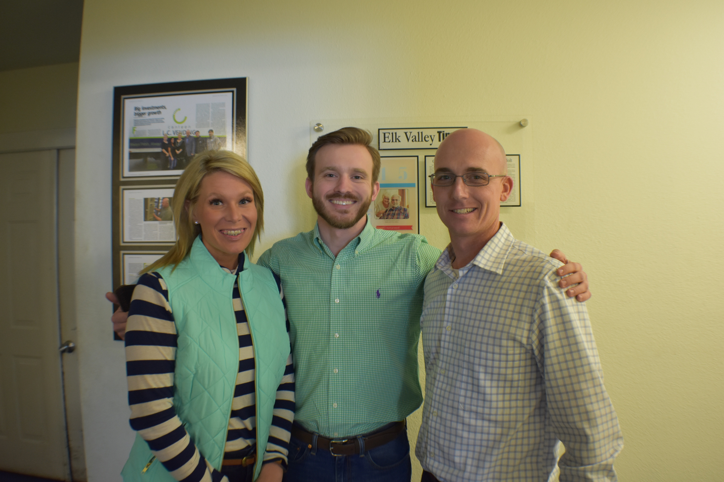 Kevin Posey and Dreanne from Lincoln County Vending with Evan Jarecki from Gimme Vending.
