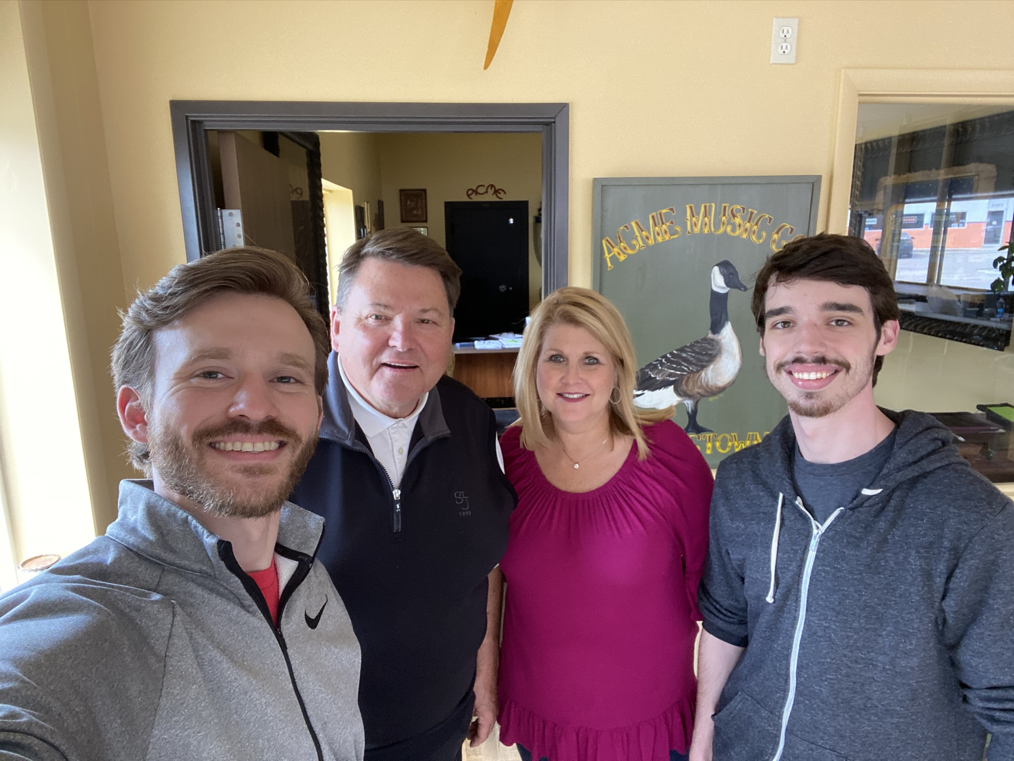 Tom Cobb and Michelle Cobb from Acme Music & Vending with Evan Jarecki and Colton Chastine from Gimme Vending.