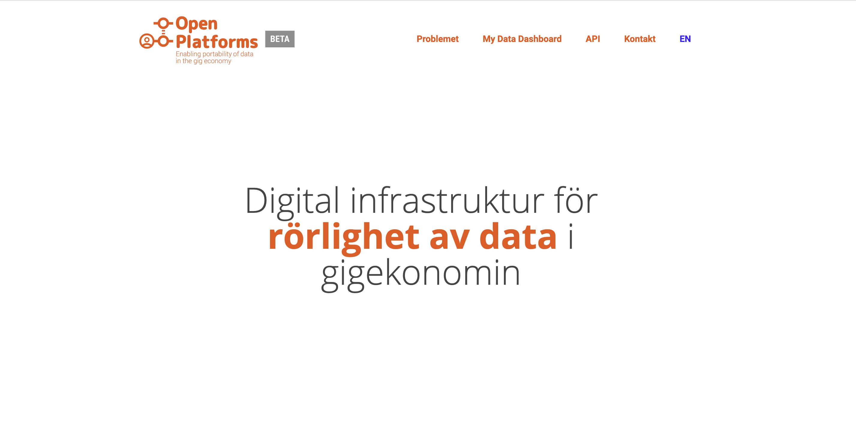 Skärmbild på openplatforms.org hemsida