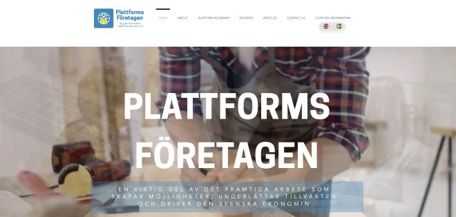 Skärmbild från plattforms företagens hemsida