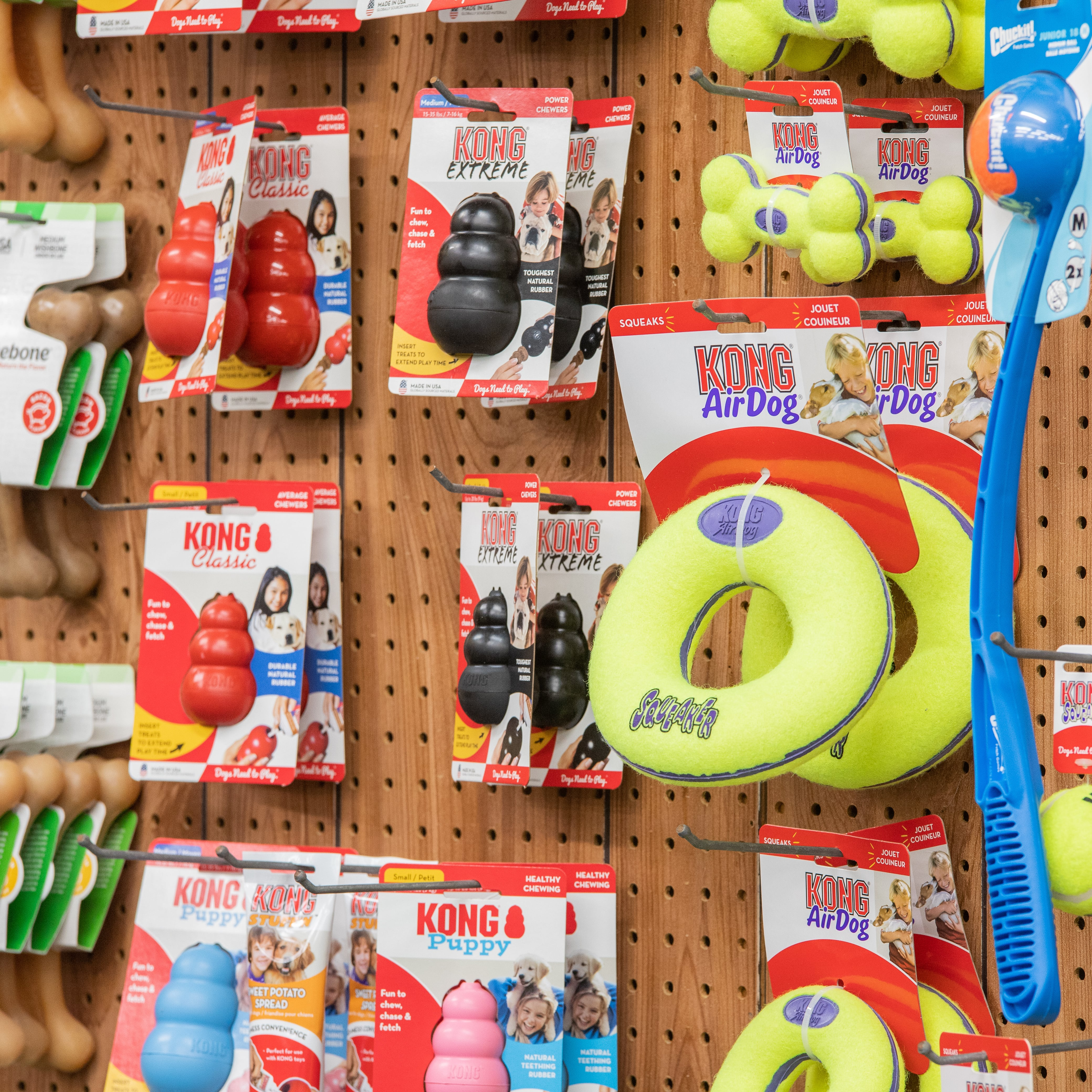 dog toys in pet store