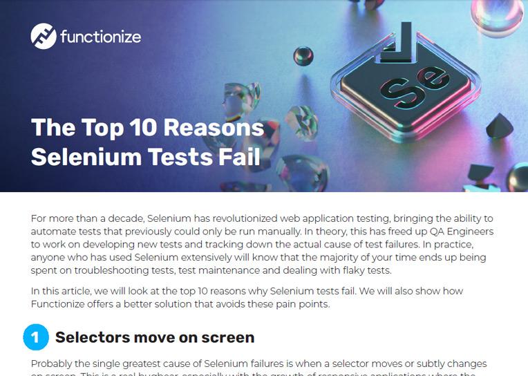 The Top 10 Reasons Selenium Tests Fail