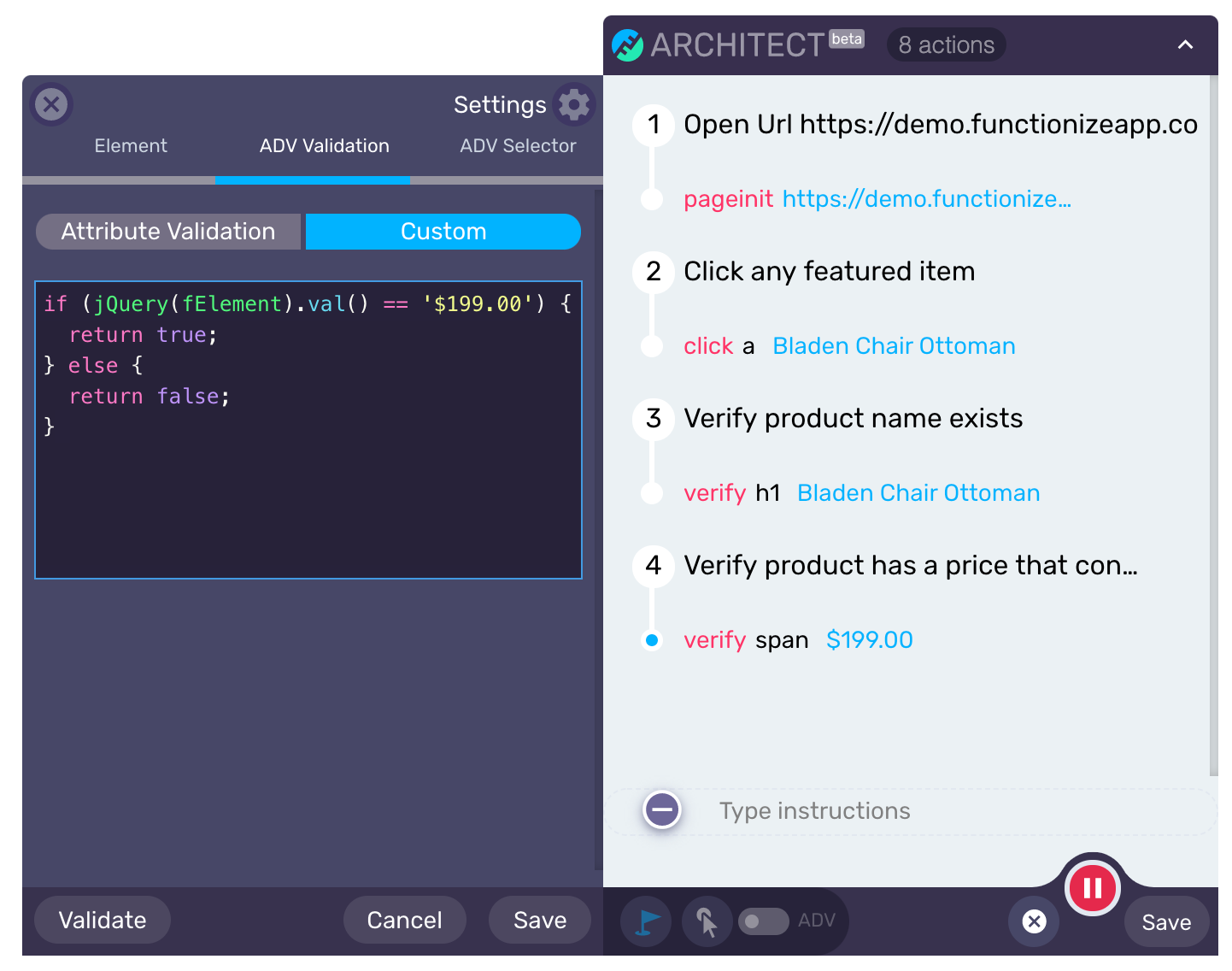 Architect Custom JavaScript - Create advanced validations using custom assertions with javascript