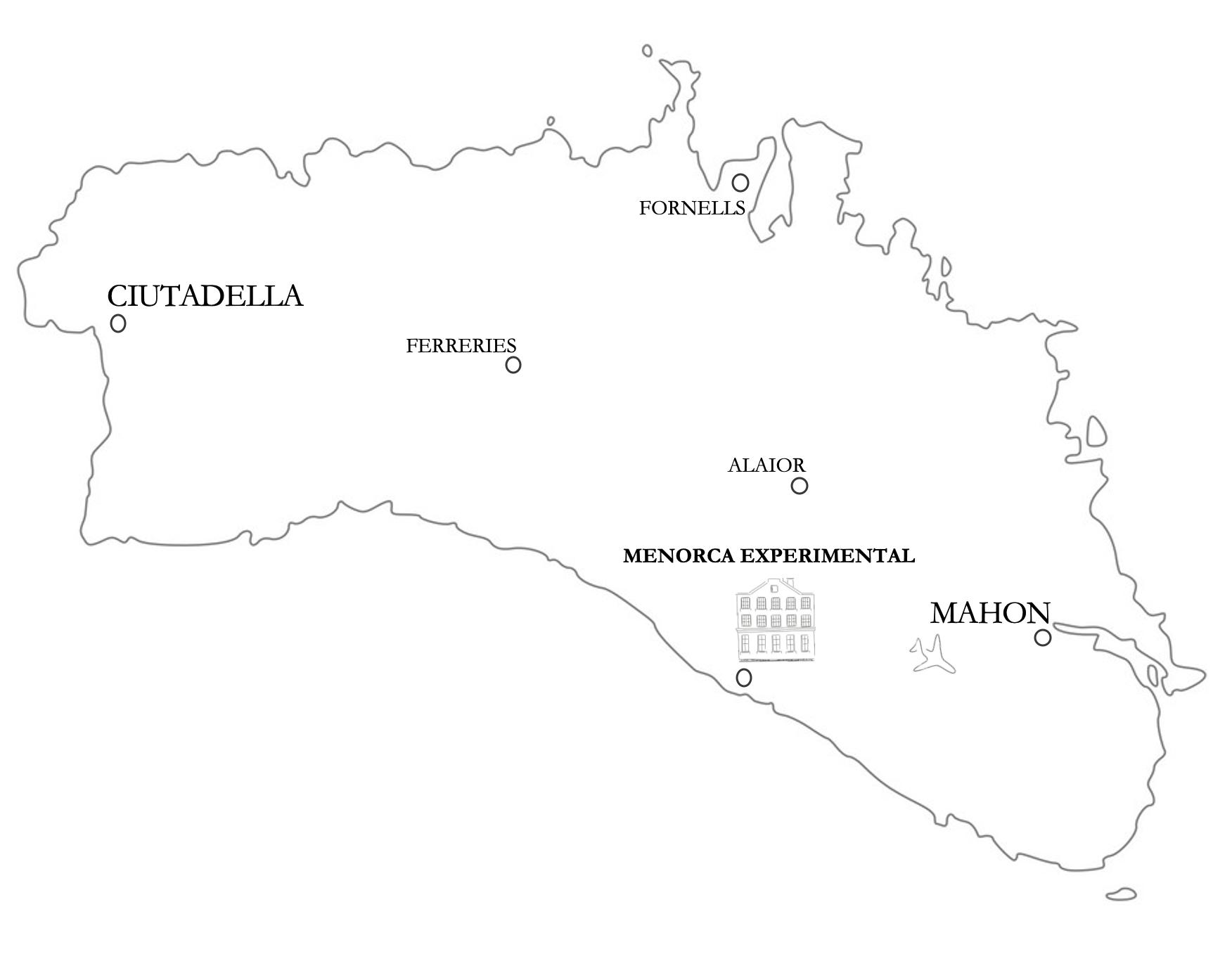 mapa de la isla hotel experimental de menorca