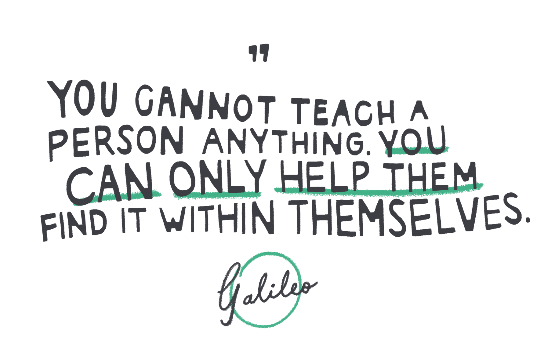 A Galileo Quotation: You cannot teach a person anything. You can only help them find it within themselves.