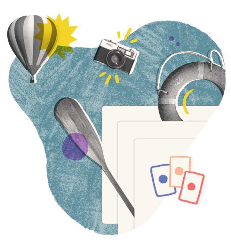 Learn in the moment image - Illustration with hot air ballon, camera, index cards, lifesaver and water paddle