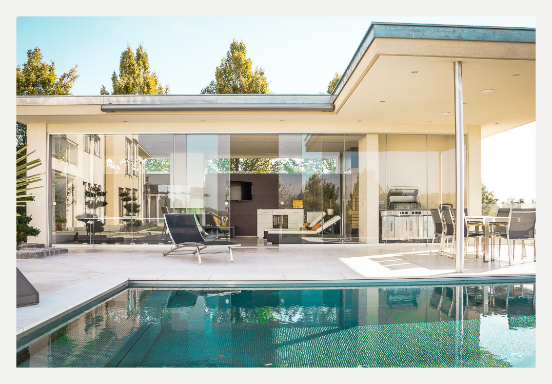 A modern house with a pool